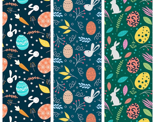 Hand drawn colorful easter pattern set