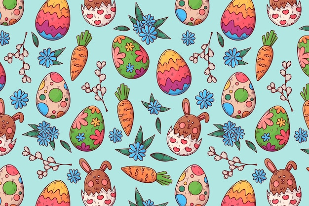 Hand drawn colorful easter pattern