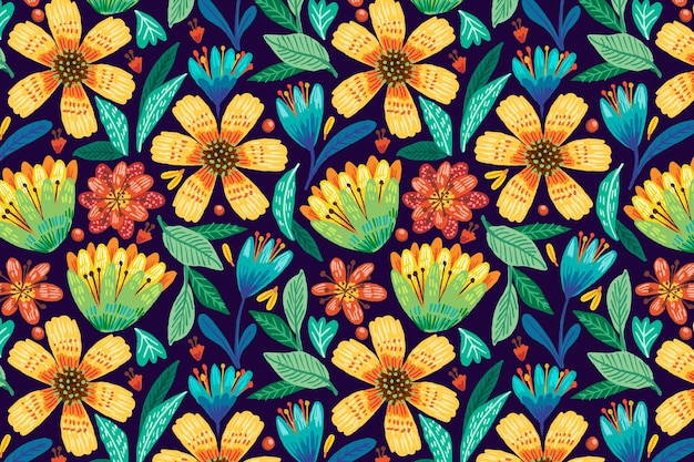 手描きのカラフルなエキゾチックな花柄の背景