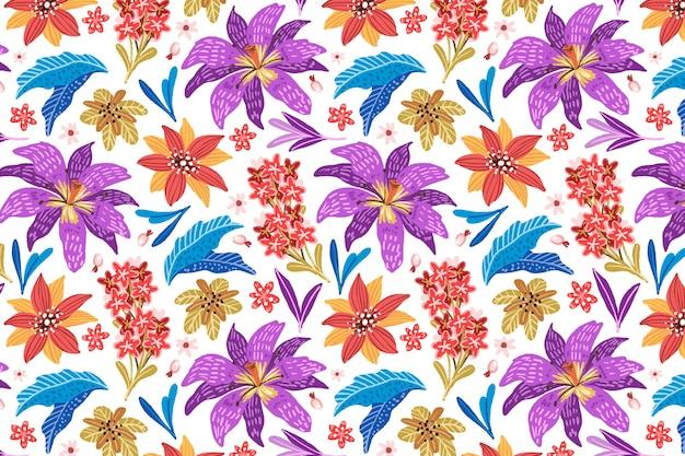 손으로 그린 화려한 이국적인 꽃 패턴 배경