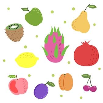 Hand drawn colorful exotic fruit set. doodle childish style. apple, kiwi, dragon fruit, pomegranate, apricot, cherry, plum. organic food vector illustrations.