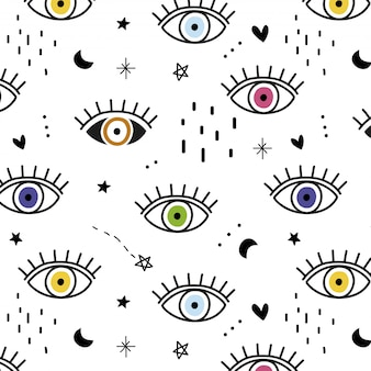 Hand drawn colorful eyes pattern
