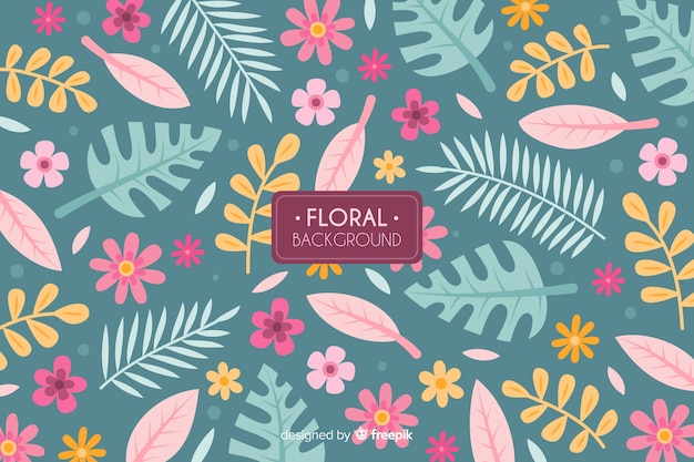 Hand drawn colorful floral background