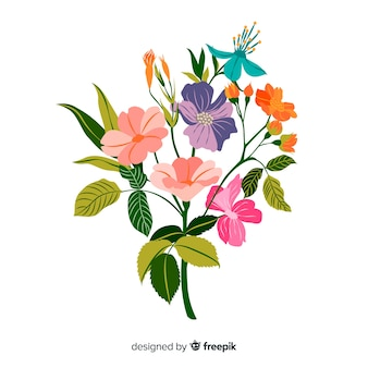 Hand drawn colorful floral branch