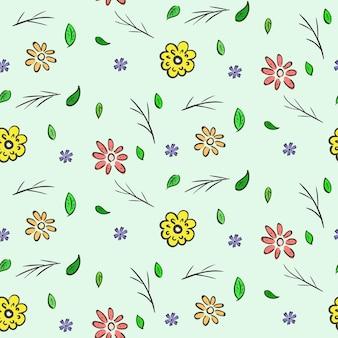 手描きのカラフルな花のシームレスなパターン