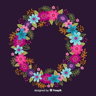 Hand drawn colorful floral wreath