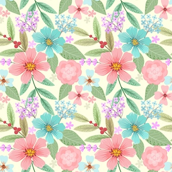 Hand drawn colorful flower seamless pattern.