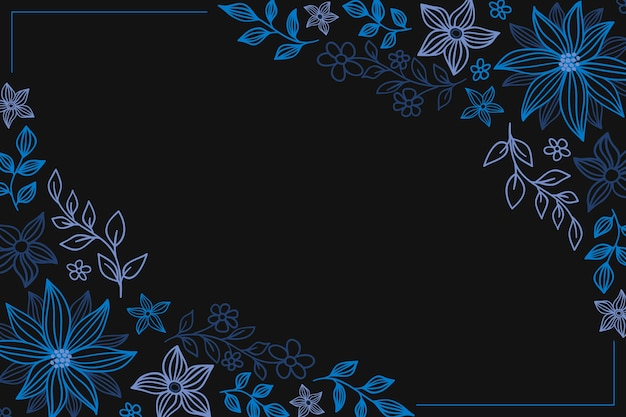 Hand drawn colorful flowers on blackboard background