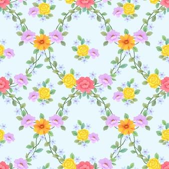 手の描かれた色とりどりの花のシームレスパターン。