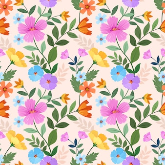 Hand drawn colorful flowers seamless pattern.