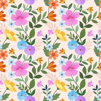 Ручной обращается красочные цветы бесшовные модели.