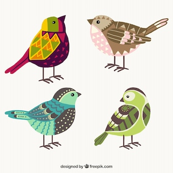 Hand drawn colorful geometric birds