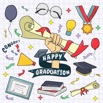 手描きのカラフルな卒業要素セット