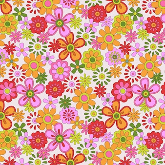 Hand drawn colorful groovy floral pattern
