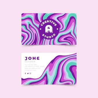 Biglietto da visita psichedelico colorato groovy disegnato a mano