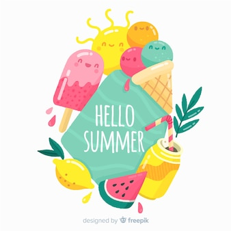 Hand drawn colorful  hello summer background