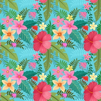 Hand drawn colorful hibiscus flowers seamless pattern.