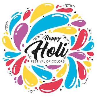 Hand drawn colorful holi concept
