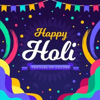 Hand drawn colorful holi festival illustrations