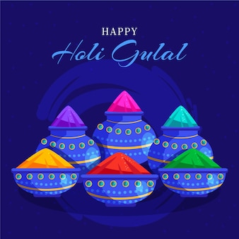 Hand drawn colorful holi gulal illustration