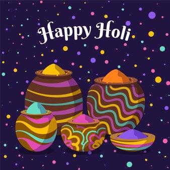 Hand drawn colorful holi gulal