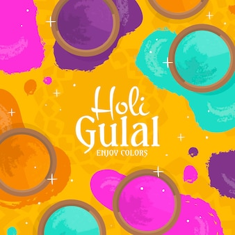Hand drawn colorful holi gulal