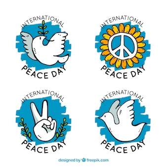 Hand drawn and colorful labels for day of peace