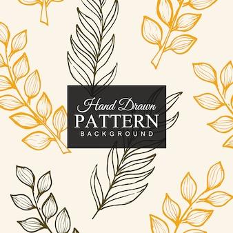 손으로 그린 화려한 잎 패턴 배경