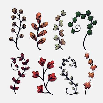 Коллекция рисованной разноцветных листьев