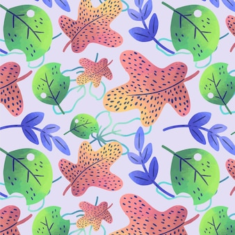 Hand drawn colorful leaves pattern