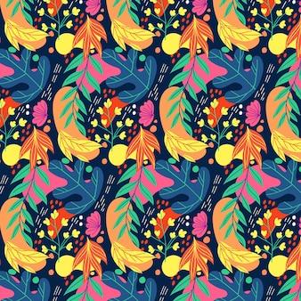 손으로 그린 다채로운 나뭇잎 패턴
