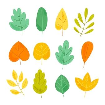 手描きの色とりどりの葉