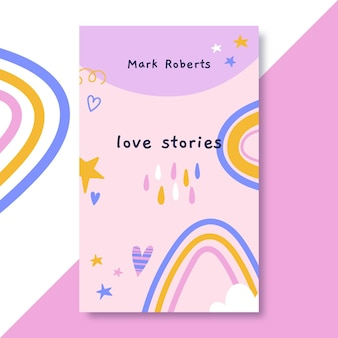 Hand drawn colorful love book cover