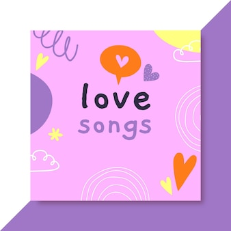 Hand drawn colorful love cd cover