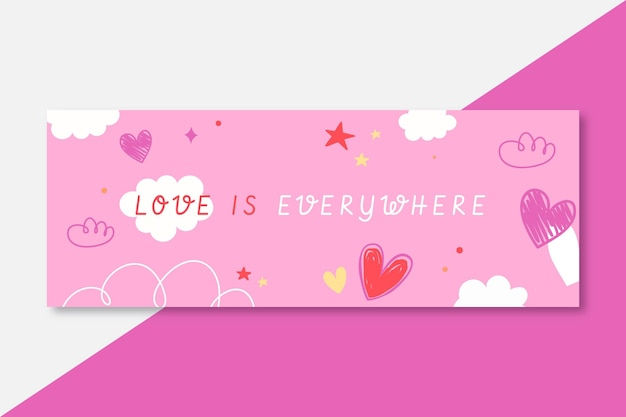Hand drawn colorful love facebook cover