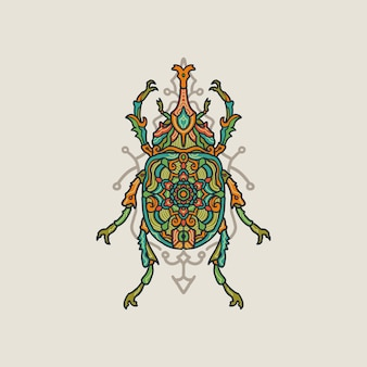 Hand drawn colorful mandala bug illustration