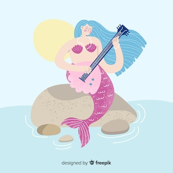 Hand drawn colorful mermaid background