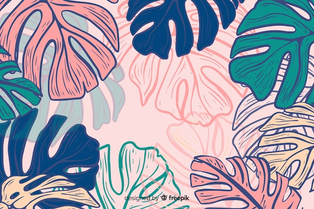 Hand drawn colorful monstera background