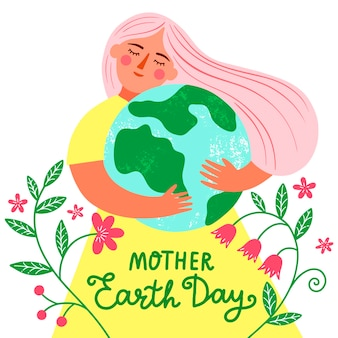 Hand drawn colorful mother earth day illustration