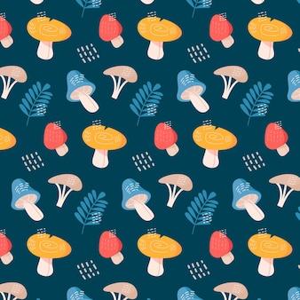 손으로 그린 화려한 버섯 패턴