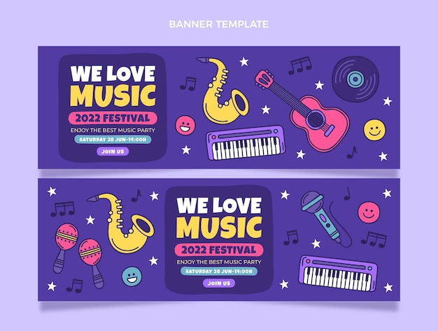 Hand drawn colorful music festival banners horizontal