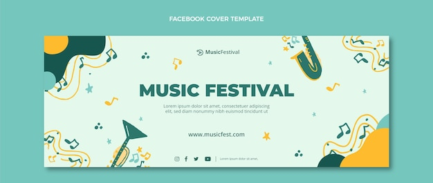 Нарисованная рукой красочная обложка музыкального фестиваля facebook