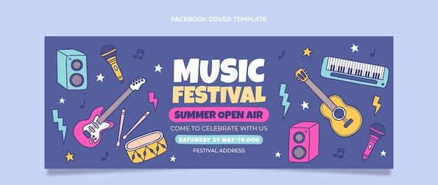 Copertina facebook del festival musicale colorato disegnato a mano