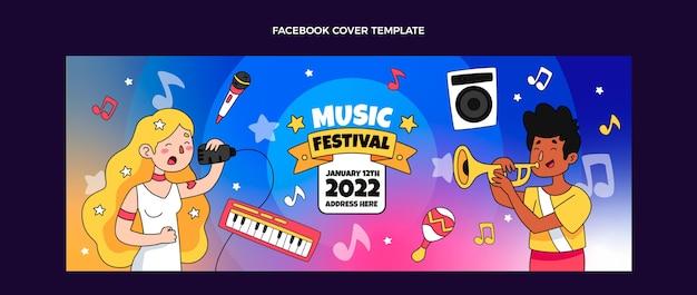 手描きのカラフルな音楽祭のfacebookカバー