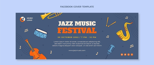 Hand drawn colorful music festival facebook cover