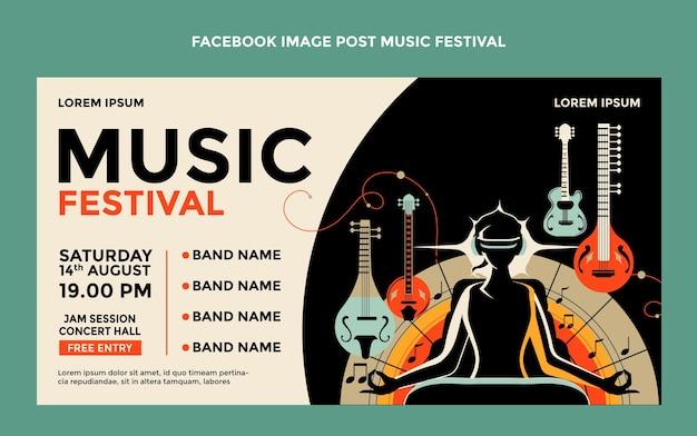 Post di facebook del festival musicale colorato disegnato a mano