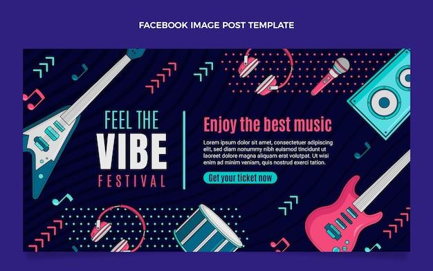 Нарисованный рукой красочный музыкальный фестиваль пост в фейсбуке