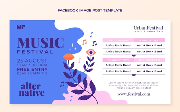 Hand drawn colorful music festival facebook post
