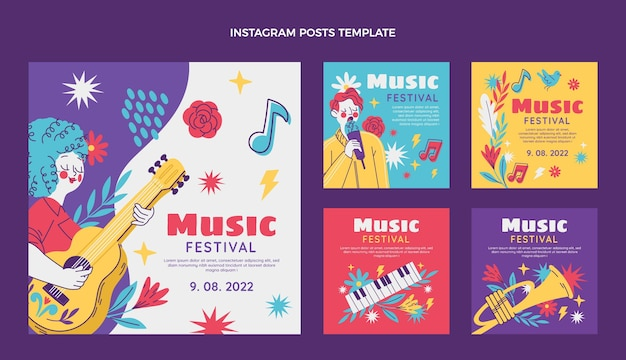 Hand drawn colorful music festival instagram posts