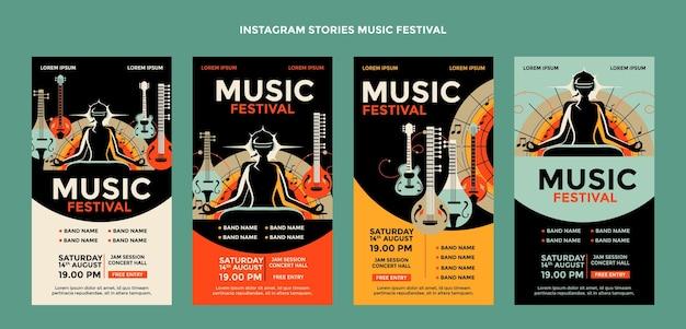 手描きのカラフルな音楽祭のinstagramの物語